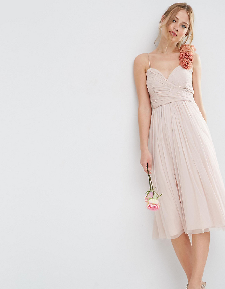 ASOS TALL WEDDING Ruched Midi Dress with Corsage Straps