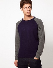 Selected Jumper with Contrast Sleeves