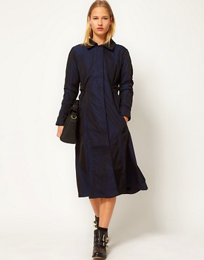 Image 1 of White Tent Taffeta Trench Coat With Cape Back Detail