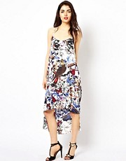 Oh My Love Bird Print Dipped Hem Dress