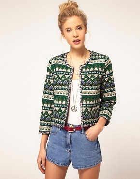 Image 1 ofASOS Printed Quilted Jacket
