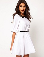 ASOS Skater Dress With Lace Insert Collar
