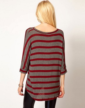 Image 2 ofLnA Striped Dip Hem Jumper