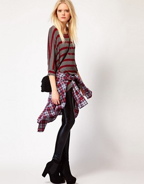 Image 4 ofLnA Striped Dip Hem Jumper