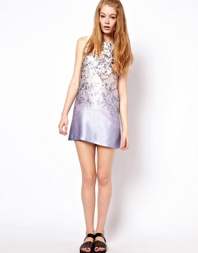 Image 4 ofHOUSE OF HACKNEY Hammered Silk Shift Dress in Blue Dalston Candy Print