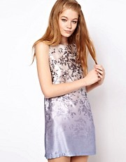 HOUSE OF HACKNEY Hammered Silk Shift Dress in Blue Dalston Candy Print