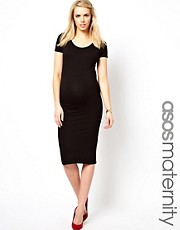 ASOS Maternity Exclusive Bodycon Midi Dress With Cap Sleeve