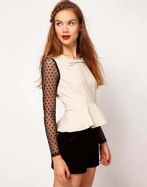 Image 1 ofDarling Spot Mesh Sleeve Peplum Top