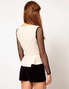 Image 2 ofDarling Spot Mesh Sleeve Peplum Top