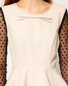Image 3 ofDarling Spot Mesh Sleeve Peplum Top