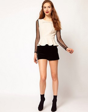 Image 4 ofDarling Spot Mesh Sleeve Peplum Top