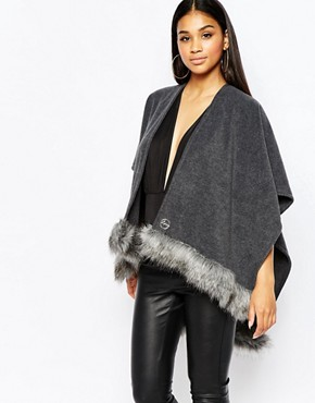 Lipsy Cape With Faux Fur Trim