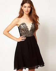 Little Mistress Embellished Lace Chiffon Dress