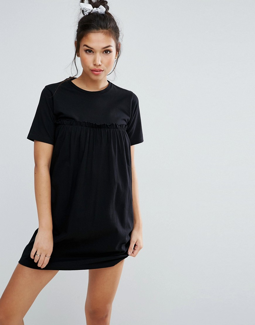 ASOS Smock Dress with Ruffles - Black