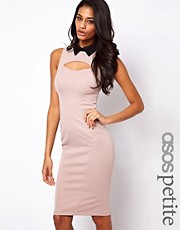 ASOS PETITE Exclusive Pencil Dress With Collar And Cut Out