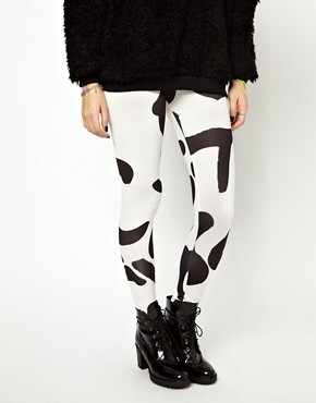 Image 2 ofASOS High Shine Leggings in Alphabet Print