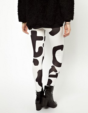 Image 4 ofASOS High Shine Leggings in Alphabet Print