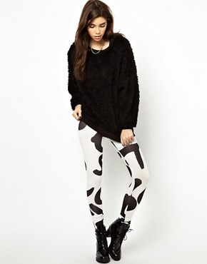 Image 1 ofASOS High Shine Leggings in Alphabet Print