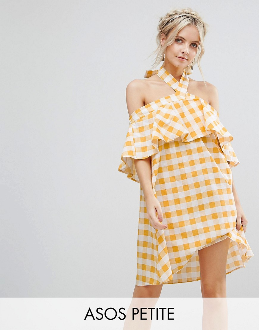 ASOS PETITE Halter Neck Sundress in Gingham - Yellow