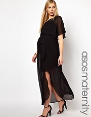 ASOS Maternity One Shoulder Drape Maxi Dress