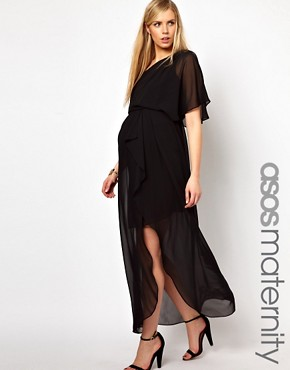Image 1 ofASOS Maternity One Shoulder Drape Maxi Dress