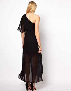 Image 2 ofASOS Maternity One Shoulder Drape Maxi Dress