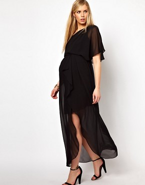 Image 4 ofASOS Maternity One Shoulder Drape Maxi Dress