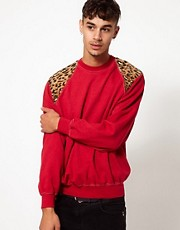 Reclaimed Vintage Sweat with Leopard Print Shoulders