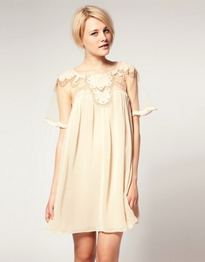 Image 1 ofASOS Swing Dress with Mesh &amp; Trim Detail