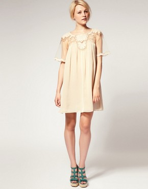 Image 4 ofASOS Swing Dress with Mesh &amp; Trim Detail