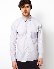 Paul Smith Jeans Shirt with Stripe Body and Check Pocket in a Tailored Fit