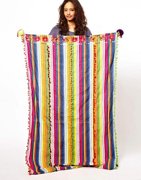 Image 2 ofASOS Premium Oversized Stripe Scarf With Embroidery And Pom Detail