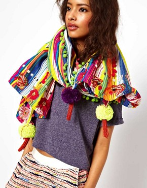 Image 1 ofASOS Premium Oversized Stripe Scarf With Embroidery And Pom Detail