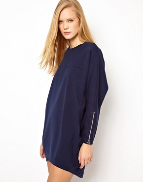 Image 1 ofASOS Sweat Dress In Ovoid Shape And Bonded Fabric