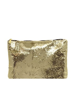 Image 1 ofASOS Sequin Zip Top Clutch