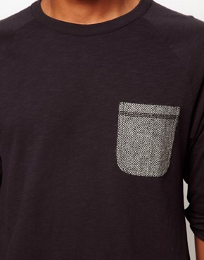 Image 3 ofASOS 3/4 Sleeve T-Shirt With Herringbone Pocket