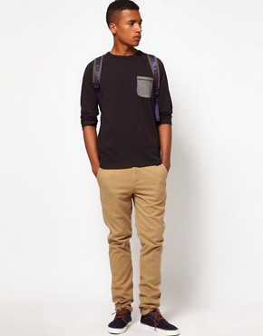 Image 4 ofASOS 3/4 Sleeve T-Shirt With Herringbone Pocket