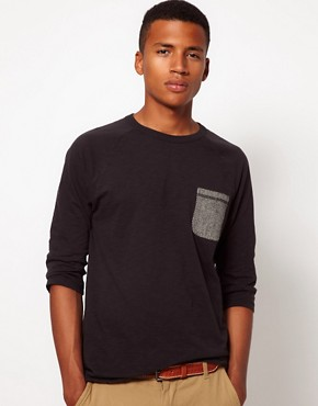 Image 1 ofASOS 3/4 Sleeve T-Shirt With Herringbone Pocket