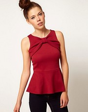 A Wear Bow Peplum Top