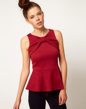 Image 1 ofA Wear Bow Peplum Top