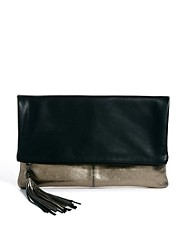 Mango Touch Leather Oversized Foldover Glitter Clutch Bag