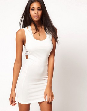 Image 1 ofASOS Mini Dress with Lace Detail