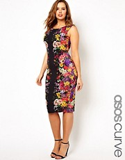 ASOS CURVE Bodycon Dress In Mirror Floral Print