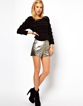 Image 1 ofASOS Knicker Short in Gold Texture