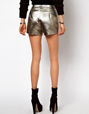 Image 2 ofASOS Knicker Short in Gold Texture