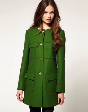 Image 1 ofASOS Minimal Coat With Gold Buttons