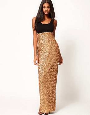 Image 1 ofAqua Garter High Waist Sequin Maxi Skirt