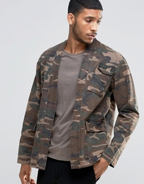 ASOS Military Kimono With Pockets And Camo Print