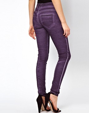 Image 2 ofASOS Skinny Jean in purple with Zip Detail