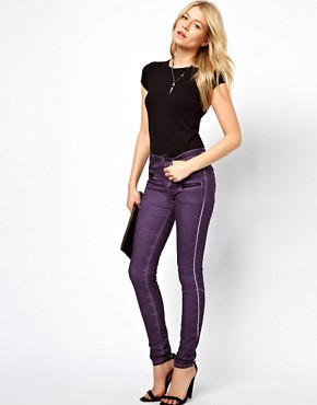 Image 4 ofASOS Skinny Jean in purple with Zip Detail